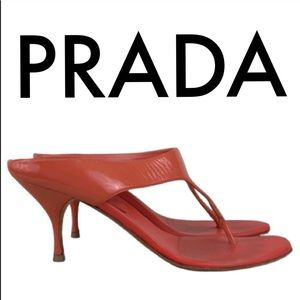 👑 PRADA CORAL SANDAL HEELS 💯AUTHENTIC